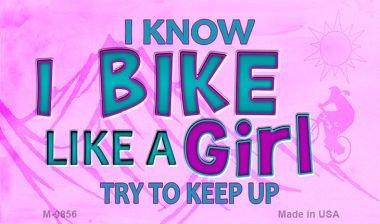 Smart Blonde Bike Like A Girl Novelty Metal Magnet M-9856 MINI Licence Plate Magnet by Smart Blonde