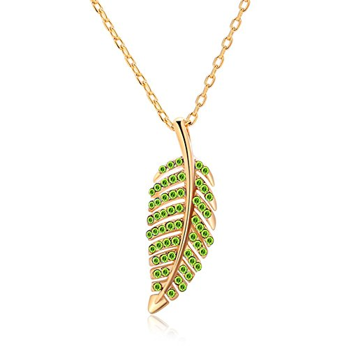 Gorgeous Jewelry Leaf Shape Gold Plated Nice Green Diamond Accented Charming Pendant - Make To How Costume A Biker