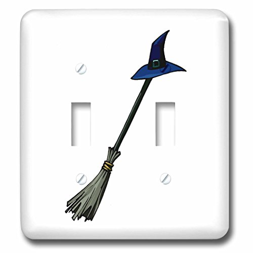 3dRose lsp_178360_2 Grey Broom Blue Witches Hat Design Light Switch (Halloween Eve Pics)