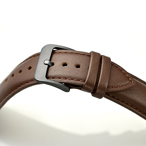 LEUNGLIK 20mm Watch Band Quick Release Leather Watch Bands with Black Stainless Pins Clasp -Brown by LEUNGLIK (Image #5)