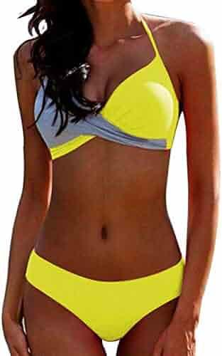 2becfde071 Womens Sexy Solid Halter Padded Push Up Bikini Set Two Piece Swimsuit  Swimwear Bathing Suit