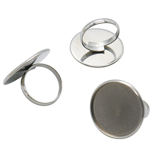 IDS 20Pcs 25mm Adjustable Silver Plated Ring Base Blanks Round Ring Bases for Jewelry ()