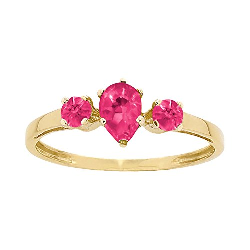 ArtCarved Sunshine Simulated Ruby July Birthstone Ring, 10K Yellow Gold, Size 8.5 ()