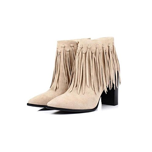 Fall Bootie Heels Ankle Women's Patch High Boots Pointy WHITE Fringed 37 Winter Skull Chunky For Suede pwxqzAc