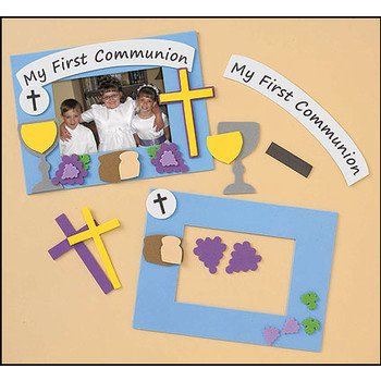 Amazoncom First Communion Frame Frame Foam Craft Kit Holds 4