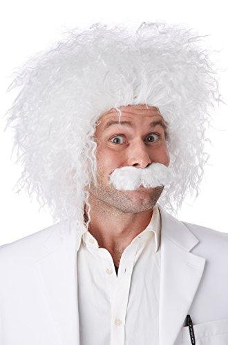 California Costumes Men's E=Mc2 Wig and Moustache Set Einstein Genius Scientist, White, One Size ()