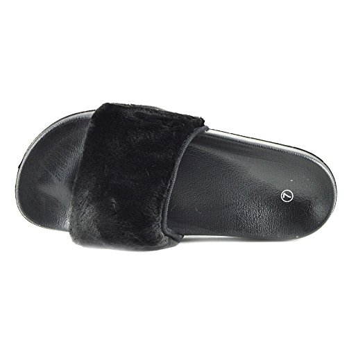 Farrah Nero Womens Sandalo Slider Flat On New Slip Mules Scarpe Fur Slipper w4ICqypcy