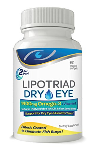 Lipotriad Dry Eye Formula - 1400mg Omega-3 Supplement - With Natural Triglyceride Fish Oil + Organic Flax Seed and Vitamin E - Support for Natural Tear Production - 60 Enteric Coated Softgels (Best Fish Oil For Dry Eyes)
