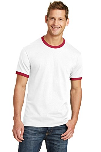 (Port & Company 5.4-oz 100% Cotton Ringer Tee. PC54R White/Red Small)