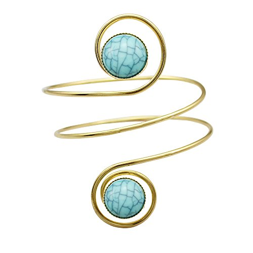 Gold Plated Egypt Cleopatra Turkey Double Blue Stone Swirl Spiral Dancer Upper Arm Cuff Armlet Armband Bangle Dia. 6.8cm(2.67