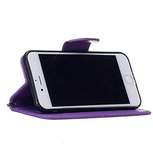 Für Apple iPhone 7 Plus (5,5 Zoll) Tasche ZeWoo® Ledertasche Kunstleder Brieftasche Hülle PU Leder Schutzhülle Case Cover - BF072 / Lila Bär