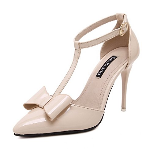 Women's Round Toe Square Heel Korean Casual Shoes with Buckle Beige - 4