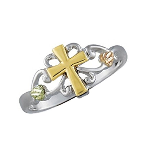 (Petite Cross Ring, Sterling Silver, 12k Green and Rose Gold Black Hills Gold Motif, Size 9)