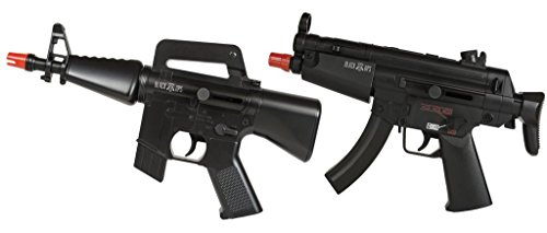 2 Airsoft Mini-Machine Type Guns Black Ops Dual Powered With Safety Glasses and Airsoft BBs Spring or Battery Powered - Airsoft Guns Dual Pistols