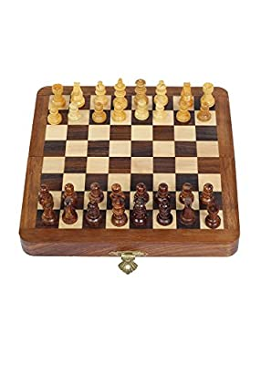 "Desi Toys Best Chess Set - 12"" Magnetic Folding Board - Portable Chess Game Handmade in Fine wood with Storage for Chessmen - Perfect Gifts and Travel games, Traditional Board Games, Satranj"