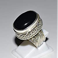 Genuine Black Onyx Silver Ring 925 Solid Sterling Silver Jewelry Size 3-13 (US)