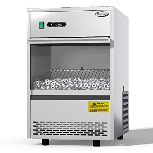 COSTWAY Commercial Ice Maker, 70LBS/24h Freestanding Portable Stainless Steel Ice Maker Machine Under Counter Ice Machine for Restaurants Bars (70LBS/24h) from COSTWAY