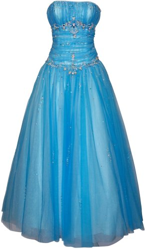Beaded Mesh Fairy Prom Dress Formal Ball Gown, Medium, Blue