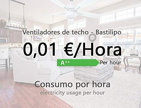 Bastilipo Cádiz Ventilador de Techo con Luz E27, 60 W, Cuero, 105 ...