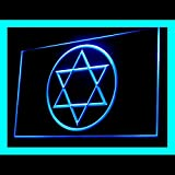 Star of David Jewish Grace World Freedom Stars Display LED Light Sign Color Blue