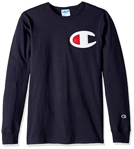 - Champion LIFE Men's Heritage Long Sleeve Tee, Navy/c Patch Applique, Large