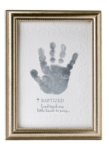The Grandparent Gift Co. Photo Frame, Baptism Handprint - 5x7 embossed silver wood frame. Made In USA. Embossed edged paper design and sentiment. Room for your own baby's handprint. Recommended 0-18 months. - picture-frames, bedroom-decor, bedroom - 41EvICCDnbL -