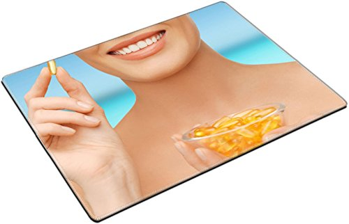 Msd Place Mat Non Slip Natural Rubber Desk Pads Design 25458777 Healthcare And Beauty Concept Beautiful Woman With Omega 3 Vitamins
