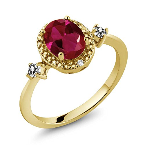 1.29 Ct Oval Diamond (1.29 Ct Oval Red Created Ruby White Diamond 18K Yellow Gold Plated Silver Ring With Accent Diamond)