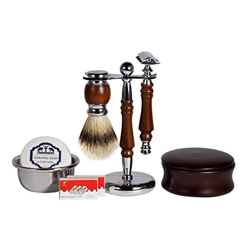 Grandslam Luxury Shaving Gift Set,Double-Edged Safety Razor+20 Blades, Rosewood Badger Brush/Bowl/Stand and Beechwood Shaving Soap Bowl .Great Gift Idea for Father Husband or ()