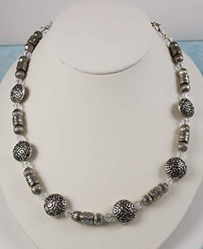 Artist Custom Design Silver Necklace, Swarovski Sparkling Ice Crystals, Sterling Silver and Fancy Pewter Chunky Beaded Necklace. Limited Edition - One of a kind piece.