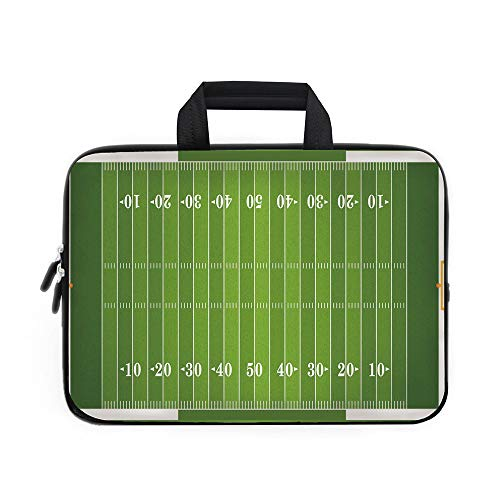 Football Laptop Carrying Bag Sleeve,Neoprene Sleeve Case/Sports Field in Green Gridiron Yard Competitive Games College Teamwork Superbowl/for Apple Macbook Air Samsung Google Acer HP DELL Lenovo ()