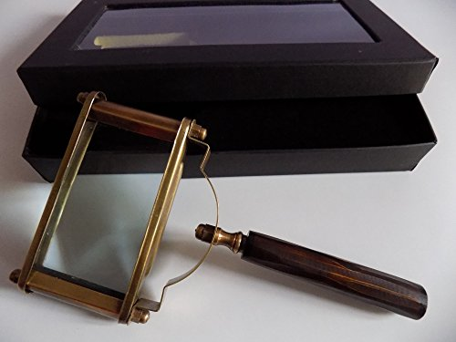Large Rectangle Shape (New Antique Vintage Style 5x Brass Rectangle Shape Big Magnifying Glass w Box Gift)
