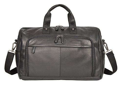Black Real Leather Holdall Weekend Bag Business Travel Overnight Gym Bag Manila by A1 FASHION GOODS (Image #2)
