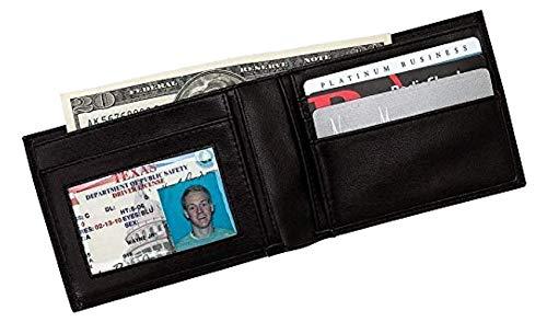 Embassy Men's Genuine Leather Bi-Fold Wallet (Color: Black)