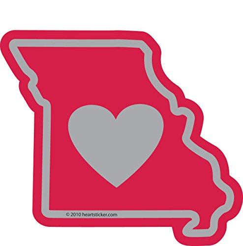 Heart in Missouri Sticker Vinyl Decal Label Stickers, Die-Cut Shape for Water Bottle Laptop Luggage Bike Laptop Car Bumper Helmet Waterproof Show Love Pride Local Spirit. MO St Louis Gateway Arch