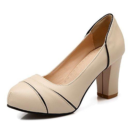 Amoonyfashion Donna Pu Scarpe Bicolore Pull-on Tacco Tacco Alto Scarpe-scarpe Beige