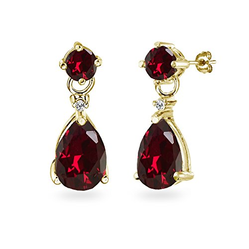 Ruby Red Flashed - Yellow Gold Flashed Sterling Silver Created Ruby Teardrop Dangle Earrings