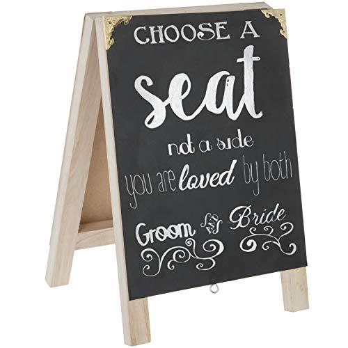 MyGift 16-Inch Wood Chalkboard Menu Wedding Sign with Vintage Metal Corner Brackets