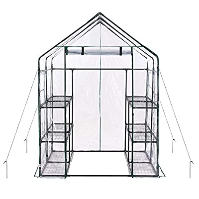 Superday Mini Greenhouse 4 Tier Portable Garden Green House Shelves for Outdoor Indoor w/Cover Wheel and Roll-Up Zipper Door Grow Seeds,Seedlings, Tend Potted Plants from Superday