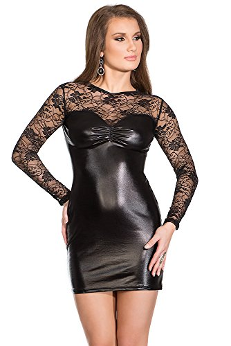 Coquette Women's Darque Wet Look and Lace Dress, Black X-Large