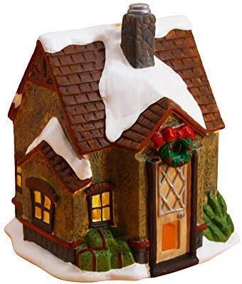ploon Christmas Snow House Mini Christmas Village Xmas House Decorations,Beige