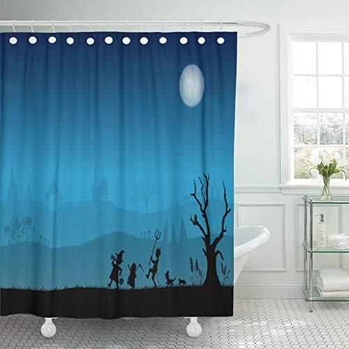 Ladble Waterproof Shower Curtain Curtains Banana Silhouettes of Thai Children Trick Treating in Halloween Night Tree Bat 72