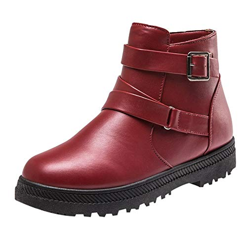 Clearance Womens Leather Boots - Realdo Women Warm Flat Platform Short Boots Zipper Round Toe Shoes(US 7.5,Red)