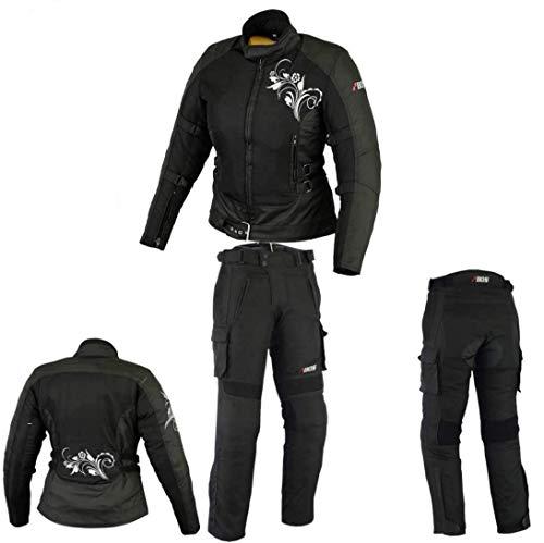 DAMEN MOTORRADKOMBI JACKE + HOSE – AUS TEXTIL/CORDURA für Motorrad Biker Chopper Cross