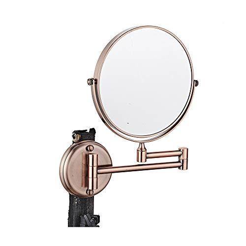 ZETA Cordless Bathroom Shower Retractable Cosmetic Makeup Mirror Rose Gold 5X (8 -