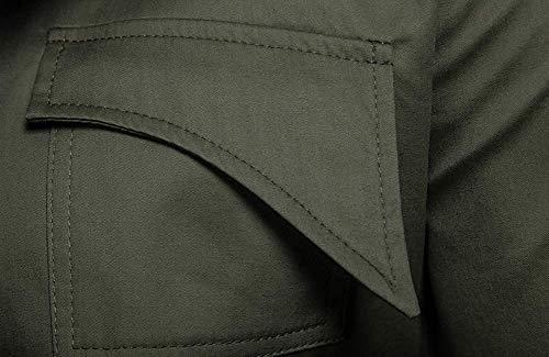 longues taille hommes avec armée pour XL Oudan et multi poches vestes cordon couleur manches vert SFqOnRwzZx