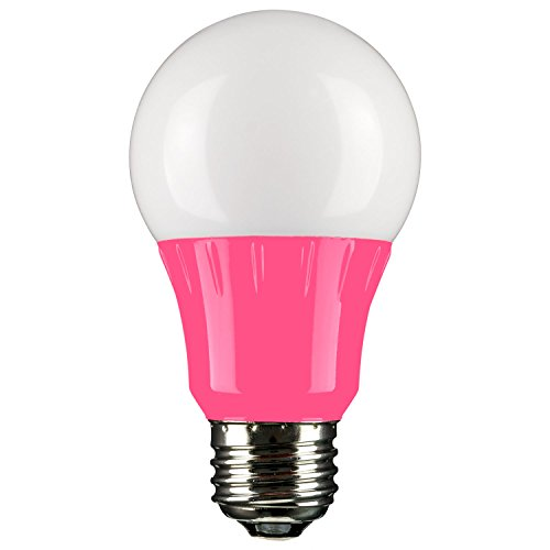 Sunlite 80168 Pink LED A19 3 Watt Medium Base 120 Volt UL Listed LED Light Bulb, last 25,000 Hours