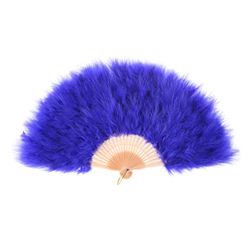 Metme Hand Fan Flapper Costume Accessories Roaring 20s Feather Folding Handheld for Dancing Party]()