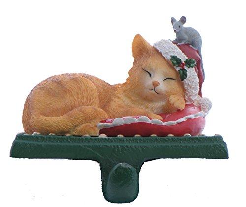 (Yellow Tabby Cat Ruffles Christmas Pet Holiday Stocking Holder)