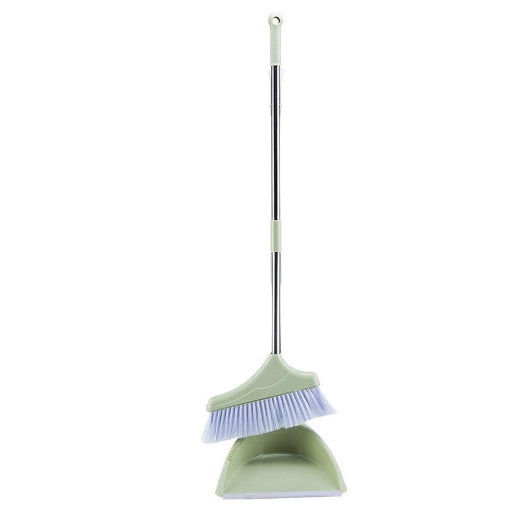 Plastic Broom Broom Set Suit Household Soft Hair Broom Garbage Bucket Broom Set (Color : Green, Size : L) by Broom&Dustpan